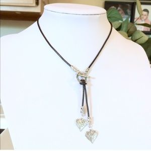 Leather ,heart choker necklace